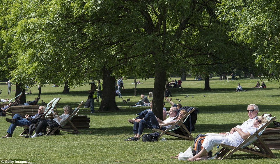 People sit in the sunshine on Friday afternoon in Hyde Park soaking up the warmth ahead of the Bank Holiday weekend