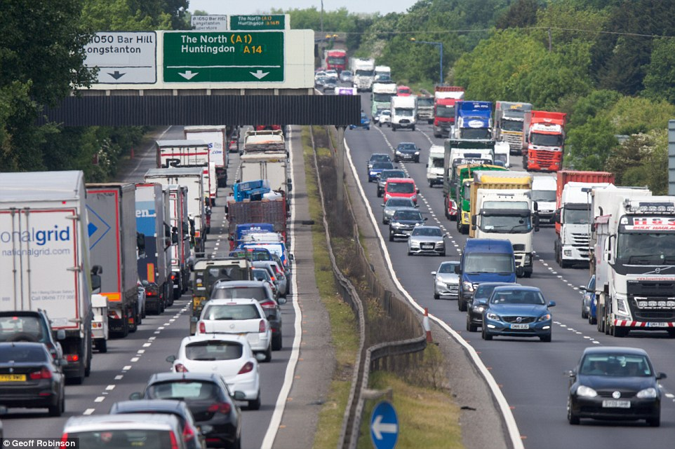 On the roads: Traffic congestion on the A14 near Cambridge  this afternoon as the Bank Holiday getaway begins across the country