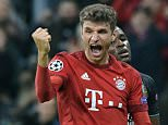 Munich's Thomas Muller jubilates after scoring the 2-0 goal during the UEFA Champions League group F soccer match between Bayern Munich and FC Arsenal (5-1)at Allianz Arena in Munich, Germany, 04 November 2015.  EPA/PETER KNEFFEL epa05011284