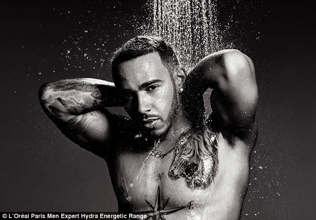 Ripped:He's never been adverse to stripping off for a saucy selfie. So Lewis Hamilton was undoubtedly in his element as he bared his gym-honed physique to front L'Oréal Paris' Men expert range