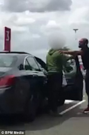 Members of the public watched on in horror as the argument escalated in front of them