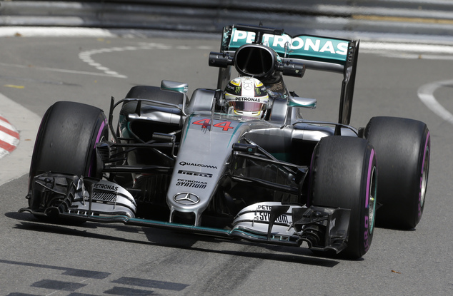 Mercedes driver Lewis Hamilton of Britain steers his car during the first free practice at the Monaco racetrack in Monaco, Monaco, Thursday, May 26, 2016. Th...