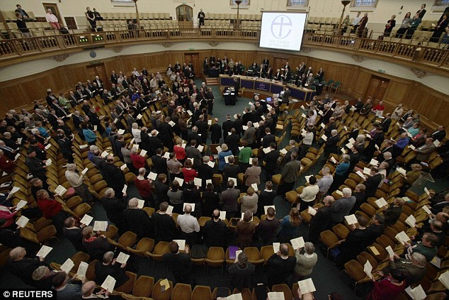 But some members of the clergy say the banns are time-wasting red tape and a medieval anachronism, and are calling for the Church of England's 'Parliament' the General Synod (pictured) to find an alternative