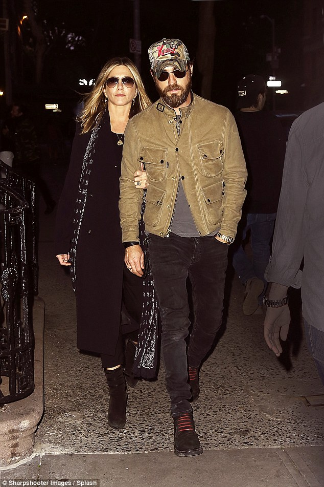 Date night!Jennifer Aniston looked as though she is still basking in her newlywed glow as she enjoyed a low-key date night in New York with husband Justin Theroux