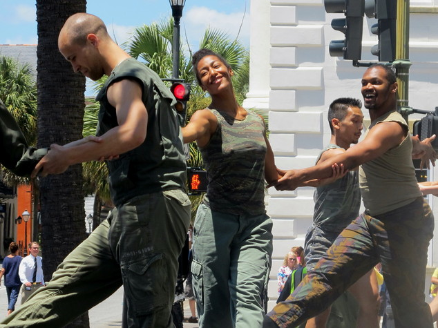 Members of the Bill T. Jones/Arnie Zane Company dance during the opening ceremonies of the 40th Spoleto Festival USA in front of city hall in Charleston, S.C...