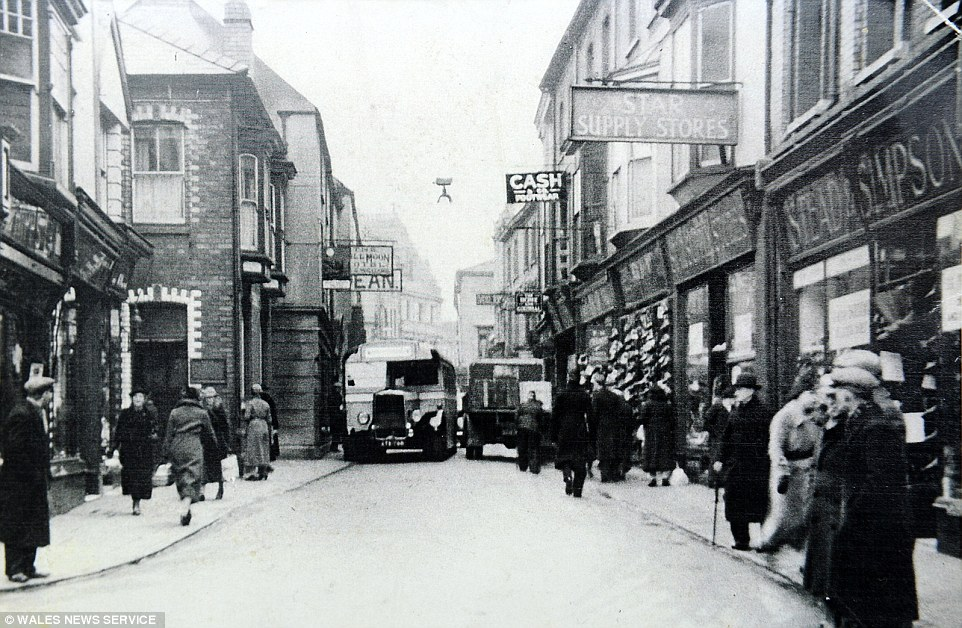 Entering the motorised era: A Peake bus makes its way through the centre of their home town of Pontypool in the 1950s