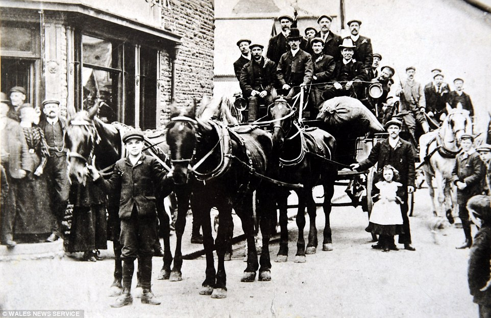 Starting out: Here is company founder Edmund Peake shown driving a horse and cart through Pontnewynydd in South Wales at the turn of the century