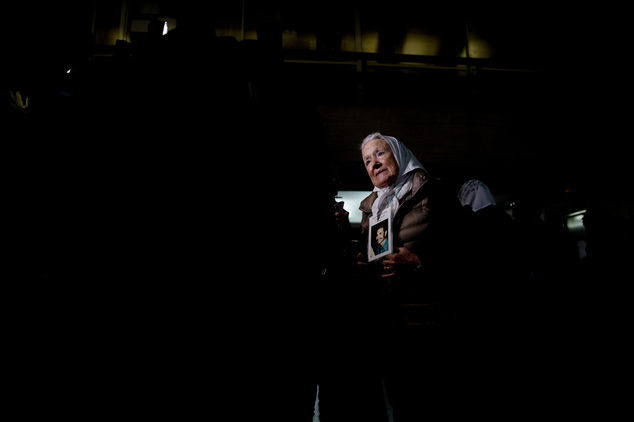 Nora de Cortinas, president of the Argentine group Mothers of the Plaza de Mayo, talks to journalists before entering federal court to hear the sentence for ...