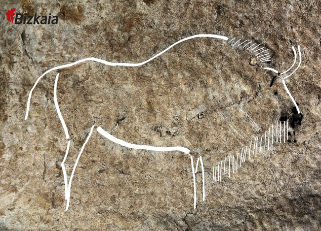 This image released by the Diputacion Floral de Bizkaia on Friday May 27, 2016, shows a cave drawing. Spanish archaeologists say they have discovered an exce...