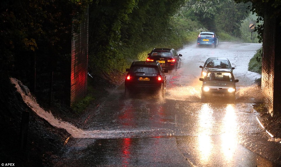 Heavy thunderstorms caused flash floods on Friday night across Somerset and parts of the south west as seen here in Chilcompton
