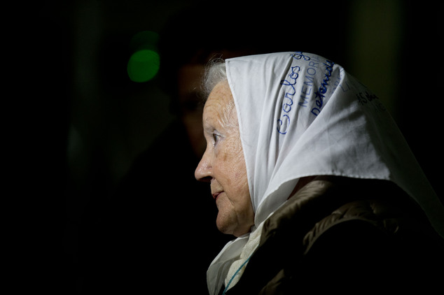 Nora de Cortinas, president of the Argentine group Mothers of the Plaza de Mayo, talks to journalists as she waits to enter federal court to hear the sentenc...