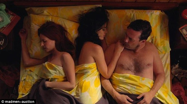 The vintage yellow bed sheets on the bed of Don Draper's wife Megan are also up for sale