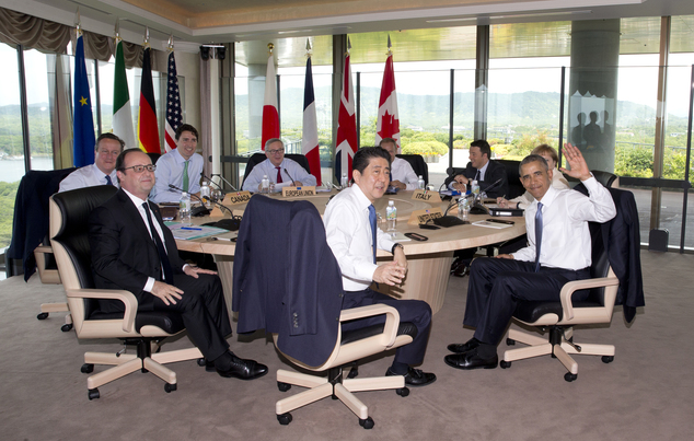 Leaders of Group of Seven nations, from left, British Prime Minister David Cameron, French President Francois Hollande, Canadian Prime Minister Justin Trudea...