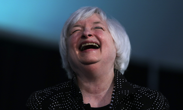 Federal Reserve Chair Janet Yellen laughs while being interviewed as part of a conversation at a Radcliffe Day event at Harvard University in Cambridge, Mass...