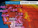 High Temperature weather map graphics for Chris Pleasance