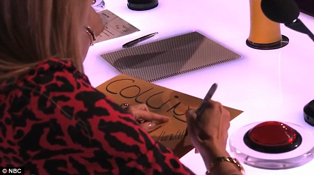 Audience participation: Heidi was asked to sign it and sit on the empty envelope