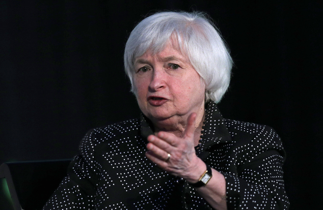 Federal Reserve Chair Janet Yellen gestures while being interviewed as part of a conversation at a Radcliffe Day event at Harvard University in Cambridge, Ma...