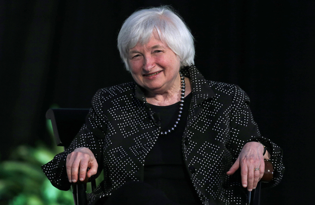 Federal Reserve Chair Janet Yellen smiles as she is asked a question regarding the economy and rates during a Radcliffe Day event at Harvard University in Ca...