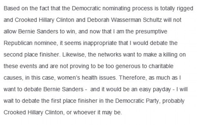 Maybe not: Trump said 'as much as I want to debate Bernie Sanders' he'd rather debate the 'first place finisher'
