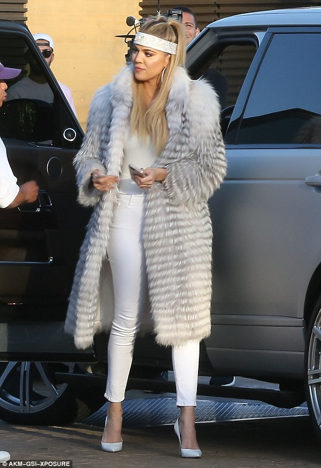 Ready for a roaring good time: Khloe Kardashian was dressed to the nines in an all-white ensemble as she arrived to Scott Disick's 33rd birthday party at Nobu in Malibu, CA on Thursday