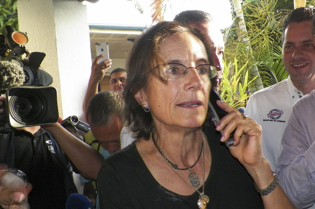 Salud Hernandez-Mora, correspondent in Colombia for Spain's El Mundo and columnist for the Bogota daily El Tiempo, speaks on the phone after being freed by l...