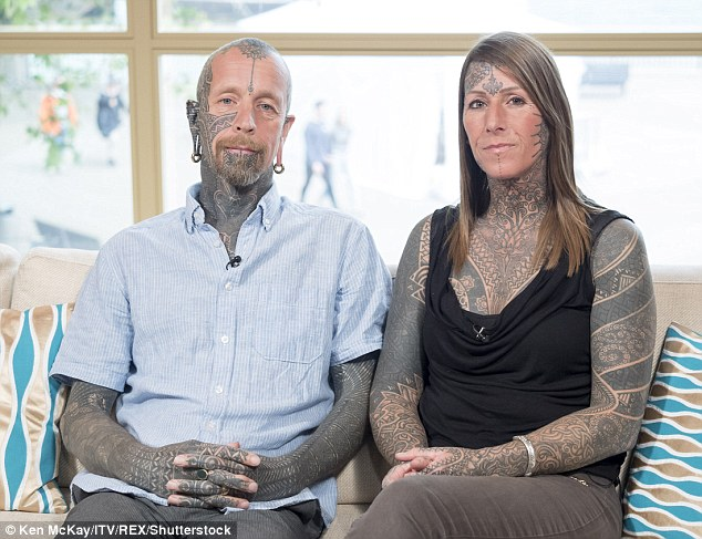 Jacqui and Curly Moore, who have covered 95 per cent of their bodies covered with tattoos, appeared on today's This Morning