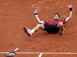 Tennis - French Open Men's Singles Final match - Roland Garros - Novak Djokovic of Serbia v Andy Murray of Britain - Paris, France - 05/06/16. Djokovic celebrates after winning.     REUTERS/Pascal Rossignol