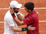 epa05347494 Novak Djokovic of Serbia (R) and Andy Murray of Britain react after their men's single final match at the French Open tennis tournament at Roland Garros in Paris, France, 05 June 2016.  EPA/IAN LANGSDON