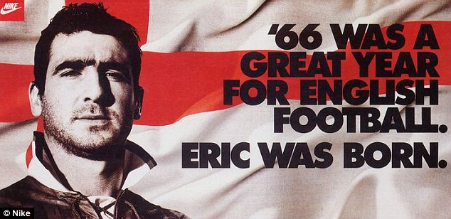 A cheeky Cantona appearance with the St George's flag in a mid-1990s Nike commercial