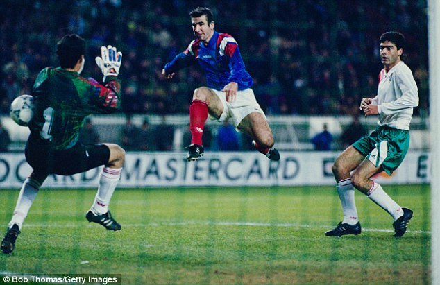 Cantona pictured during one of his appearances for France, against Bulgaria in 1993