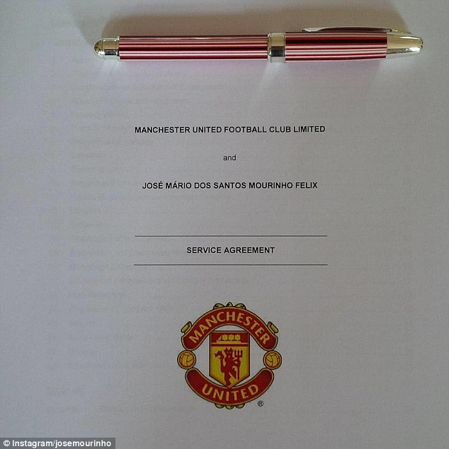The new Manchester United manager posted this image of his contract with the club on Instagram