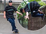 EXCLUSIVE: Rocco Ritchie was seen skateboarding with friends under Manhattan Bridge in New York  Pictured: Rocco Ritchie Ref: SPL1291103  030616   EXCLUSIVE Picture by: Allan Bregg / Splash News  Splash News and Pictures Los Angeles: 310-821-2666 New York: 212-619-2666 London: 870-934-2666 photodesk@splashnews.com