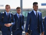 LUTON, ENGLAND - JUNE 06:  In this handout image provided by the FA, (L-R) Harry Kane, Kyle Walker, Daniel Sturridge, Jack Wilshire and Raheem Sterling look on as the England team depart for UEFA Euro 2016 at Luton Airport on June 6, 2016 in Luton, England. England's opening match at the European Championship is against Russia on June 11.  (Photo by The FA/The FA via Getty Images)