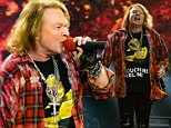 Mandatory Credit: Photo by Roger Goodgroves/REX/Shutterstock (5706029am)\nAxl Rose and Angus Young\nACDC with Axl Rose in concert at the Olympic Stadium, London, Britain - 04 Jun 2016\n