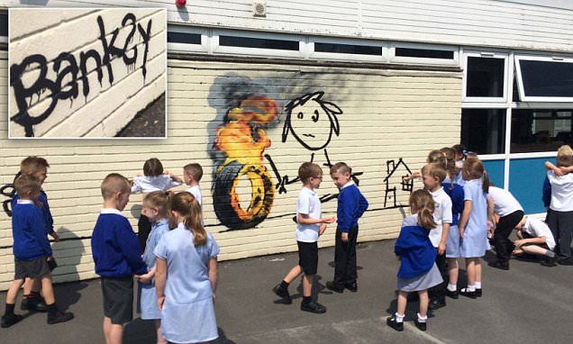 Banksy left Bridge Farm Primary a playground mural to say thank you