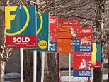 For Sale signs, as official figures suggest that the average price of a home increased by £18,000 during 2015. In December 2015, the typical UK property was worth £288,000 - up from £270,000 on average in January last year, Office for National Statistics (ONS) figures show.   PRESS ASSOCIATION Photo. Issue date: Tuesday February 16, 2016.  See PA story ECONOMY House. Photo credit should read: Yui Mok/PA Wire