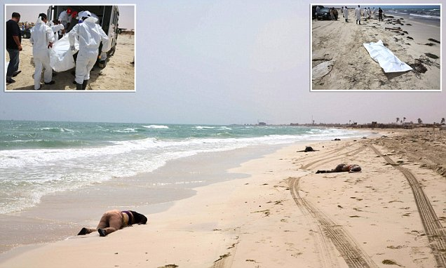 Bodies of migrants who drowned last week found washed up on Libyan beach