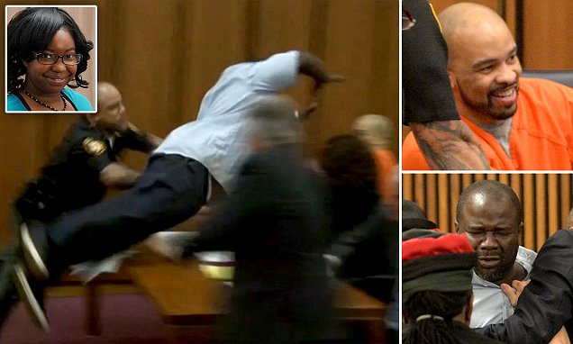 Ohio serial killer LAUGHS as victim's father leaps over a table to attack him