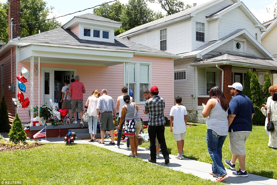 Hundreds of fans flocked to Ali's childhood home (above) on Sunday, which was recently renovated and turned into a museum