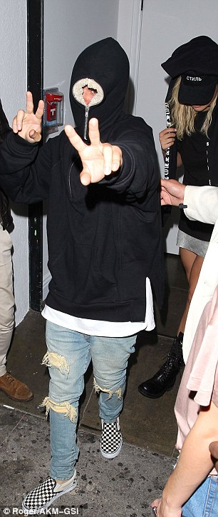 Pop star pals: Last week, Rita was seen leaving Los Angeles club Warwick with Justin Bieber, although the pair appeared keen to cover their faces