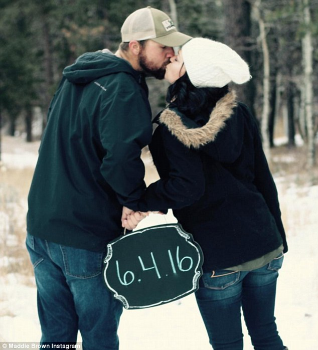 """Snow doubt it's love: Maddie captioned this picture, 'I remember taking these picture thinking """"this wedding is never going to get here"""" now we are 2 weeks out.  I cannot wait to be married to you Caleb James!'"""