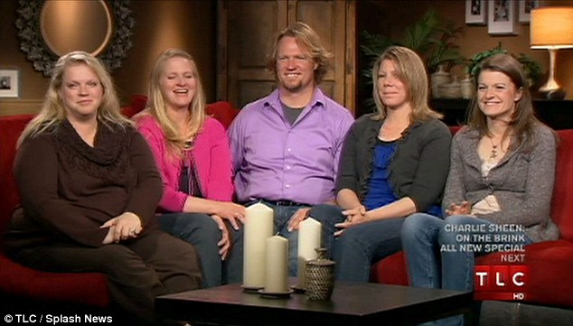 Family man: Kody Brown, centre, and his sister wives Janelle, Christine, Meri and Robyn