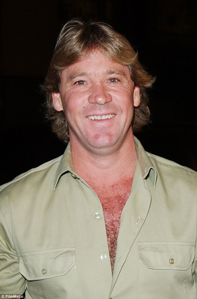 Family tied: The gala helped to honour the late Steve Irwin's memory, with Steve being Bindi's father, who died in 2006 after a stingray attack (pictured in 2003)