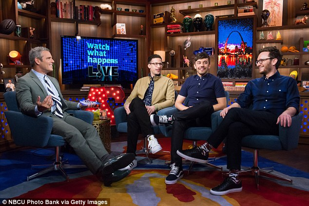 In action: The show, which features celebrities as well as Bravo stars as guests, recently aired its 1,000th episode in March 2016; Andy hosting WWHL with guests Andy Samberg, Jorma Taccone and Akiva Schaffer