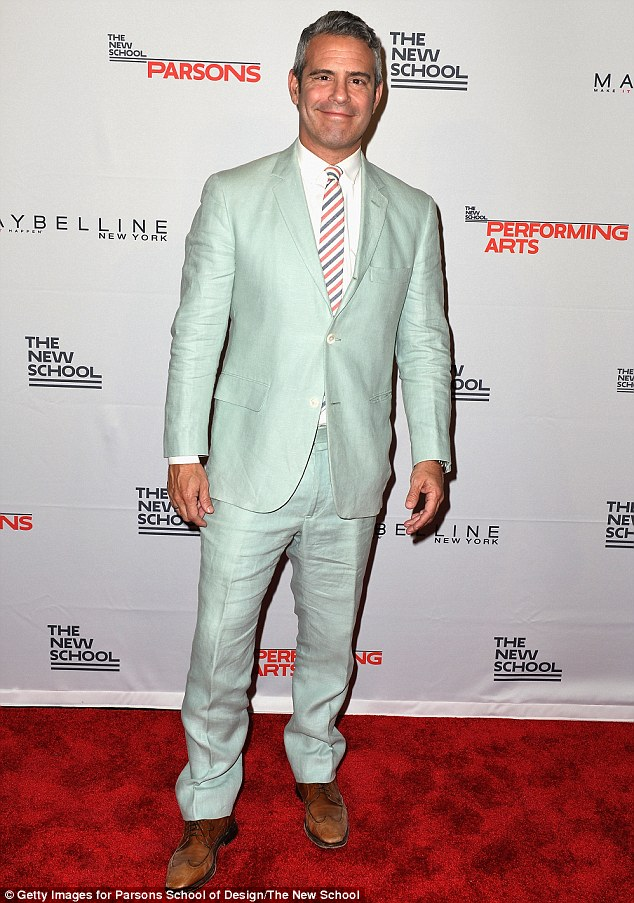 Dapper gentleman: He has been hosting the late night show WWHL since it premiered in July 2009; pictured on May 23 at the Parson Benefit in New York City