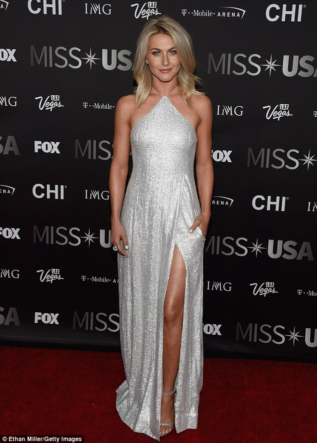 Thigh's the limit!Julianne Hough got leggy in a thigh-grazing silver gown to co-host Sunday night's Miss USA pageant in Las Vegas