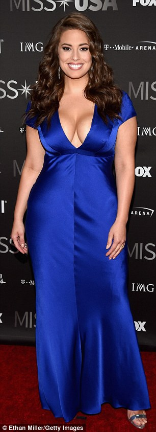 Amply charmed: Lane Bryant beauty and backstage host Ashley Graham made an eye-popping display in her cleavage-baring sapphire blue gown