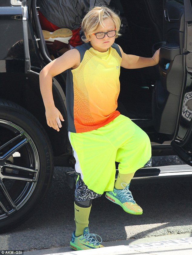 Glowing! Zuma, aged seven, was sure to stand out from the crowd as he was dressed in head-to-toe neon yellow and orange