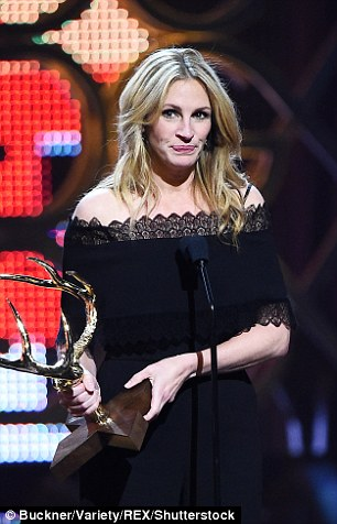Award winning: Julia Roberts and Kendrick addressed the audience with their new awards in hand