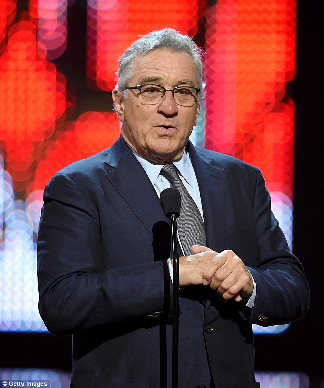 Respected: Robert De Niro also took to the stage to deliver a speech